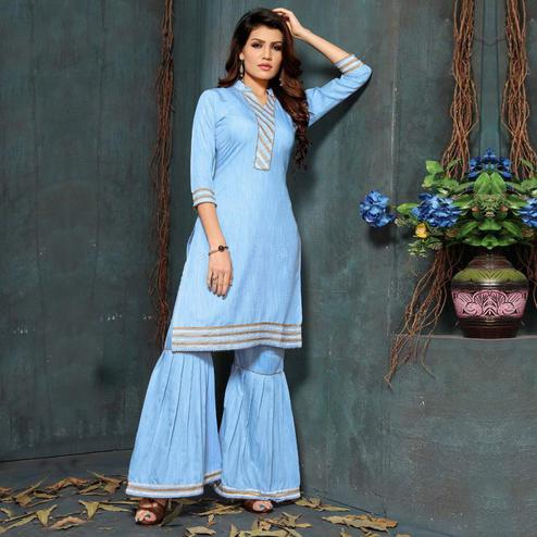 Beautiful Sky Blue Colored Partywear Cotton Kurti-Sharara Set