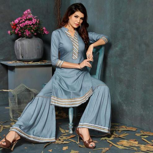Graceful Grey Colored Partywear Cotton Kurti-Sharara Set
