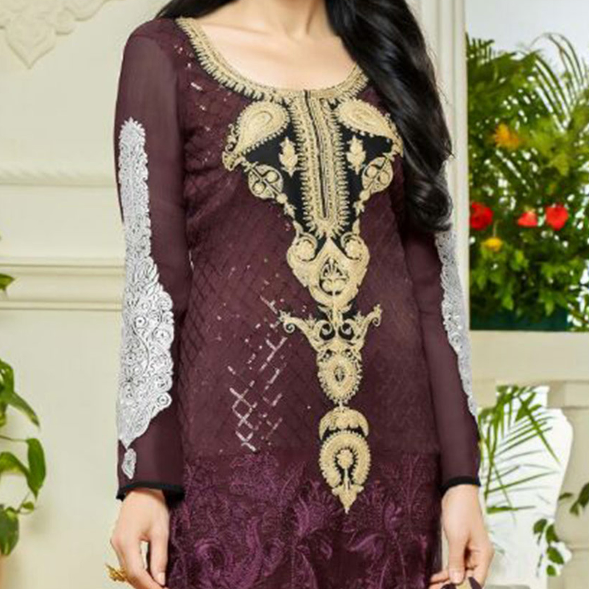Dark Wine Georgette Karishma Kapoor Suit
