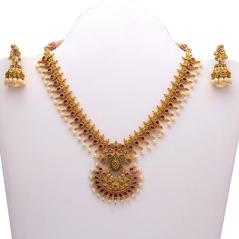Capricious Designer Antique Gold Look Multi-Colour Stone Necklace Set