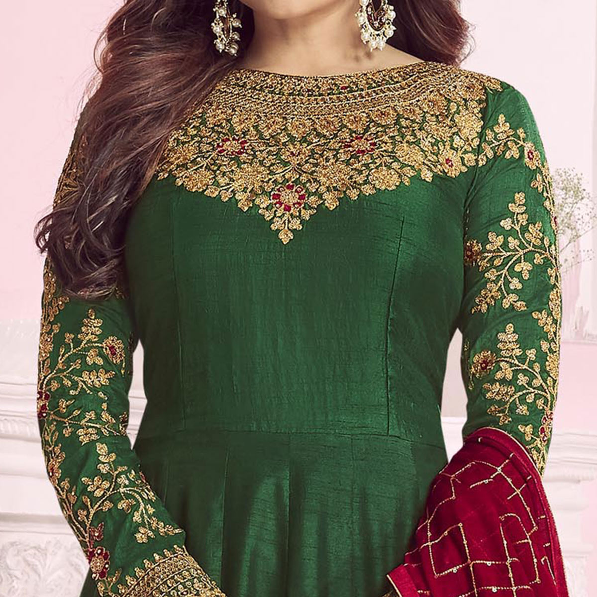 Flattering Green Colored Partywear Embroidered Cotton Silk Anarkali Suit