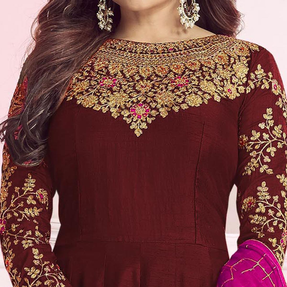 Excellent Maroon Colored Partywear Embroidered Cotton Silk Anarkali Suit