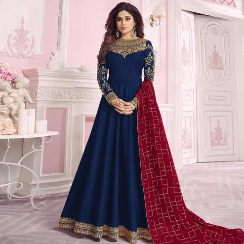 Preferable Navy Blue Colored Partywear Embroidered Cotton Silk Anarkali Suit
