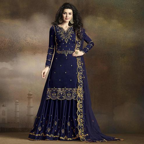 Flamboyant Navy Blue Colored Partywear Embroidered Georgette Palazzo Suit