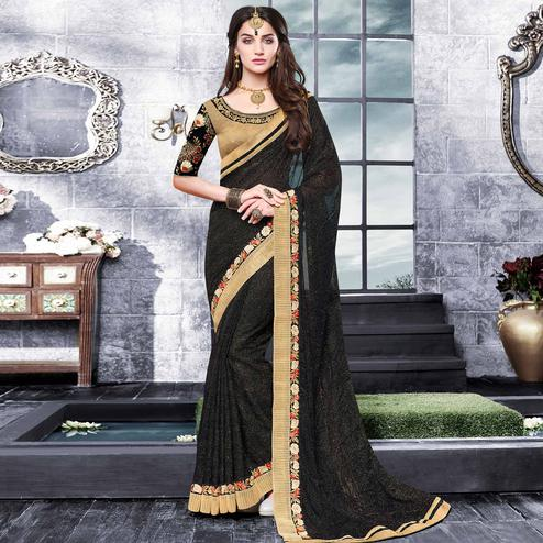 Graceful Black Colored Partywear Embroidered Georgette Saree