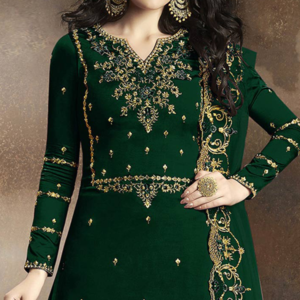 Pretty Dark Green Colored Partywear Embroidered Georgette Palazzo Suit