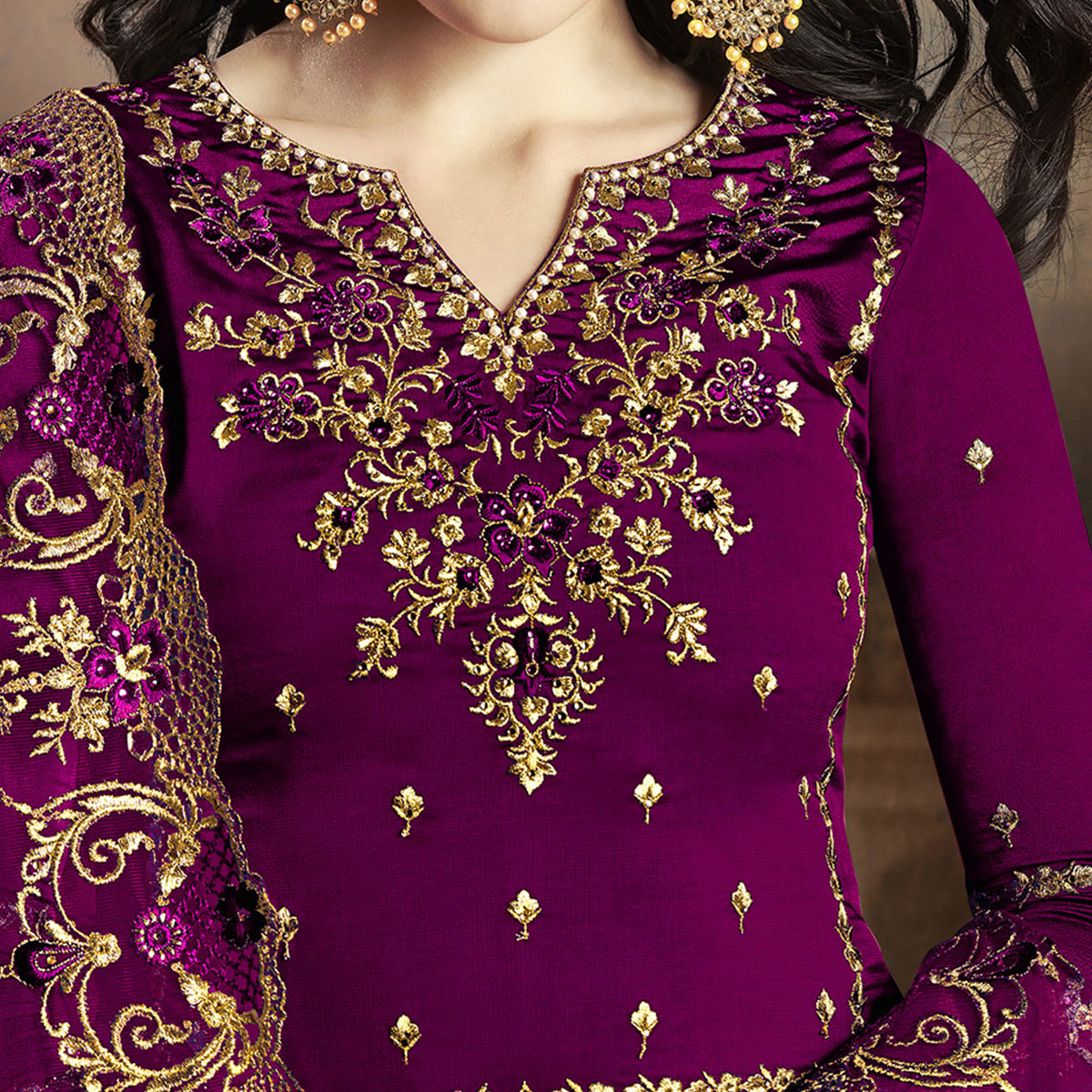 Sensational Purple Colored Partywear Embroidered Georgette Palazzo Suit