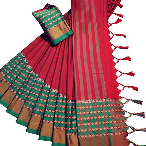 Arresting Red Colored Festive Wear Woven Soft Cotton Silk Saree