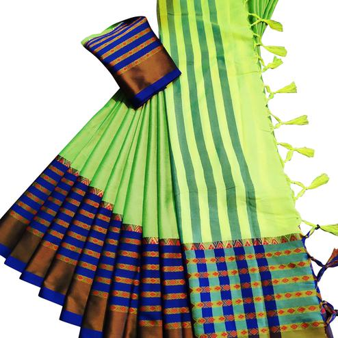 Sophisticated Bright Green Colored Festive Wear Woven Soft Cotton Silk Saree