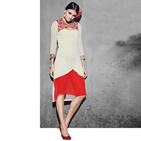 Cream - Red Georgette Tunic
