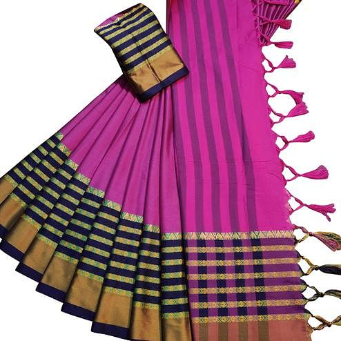 Trendy Rani Pink Colored Festive Wear Woven Soft Cotton Silk Saree
