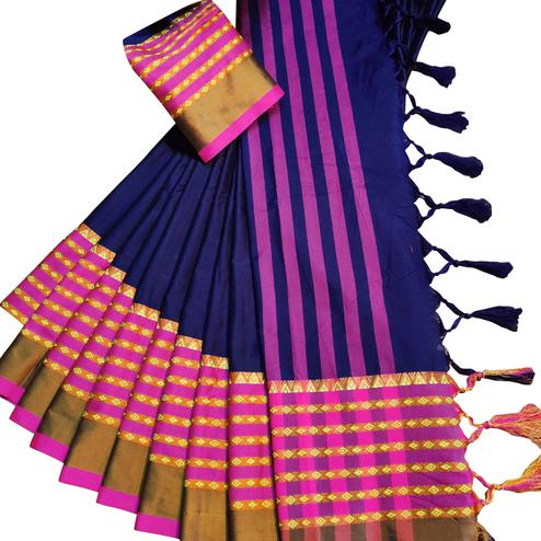 Elegant Navy Blue Colored Festive Wear Woven Soft Cotton Silk Saree
