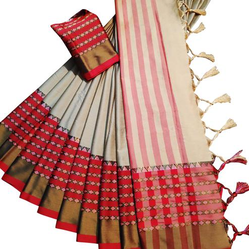Radiant Beige Colored Festive Wear Woven Soft Cotton Silk Saree