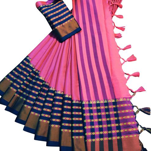 Pleasant Pink Colored Festive Wear Woven Soft Cotton Silk Saree