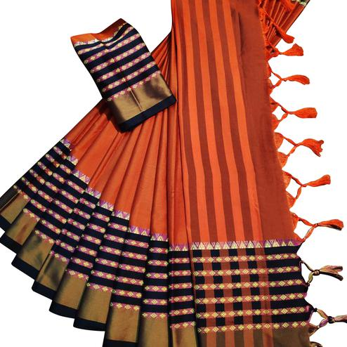 Opulent Orange Colored Festive Wear Woven Soft Cotton Silk Saree