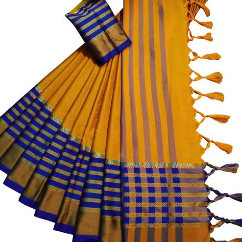 Energetic Mustard Yellow Colored Festive Wear Woven Soft Cotton Silk Saree
