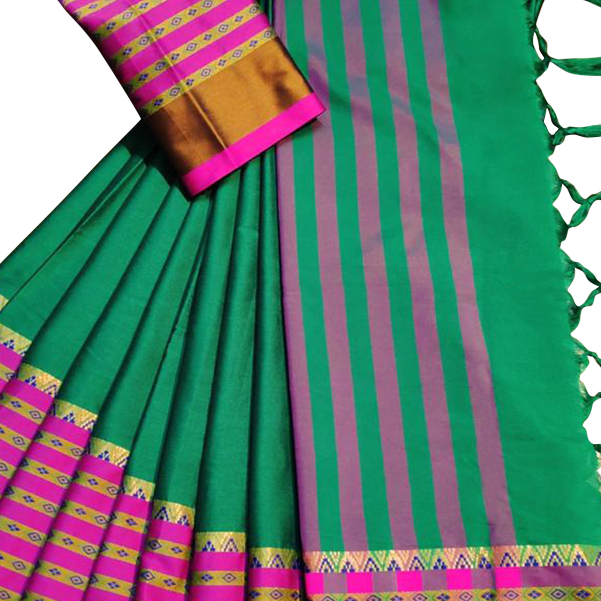 Glowing Turquoise Green Colored Festive Wear Woven Soft Cotton Silk Saree