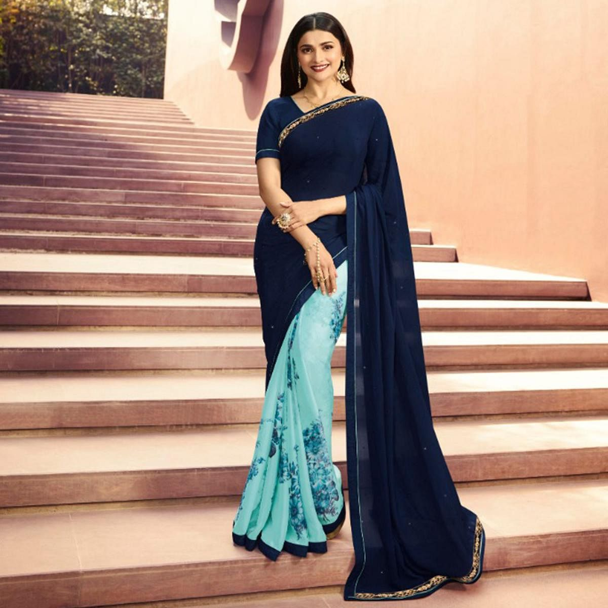 Prominent Blue Colored Partywear Printed Georgette Half-Half Saree