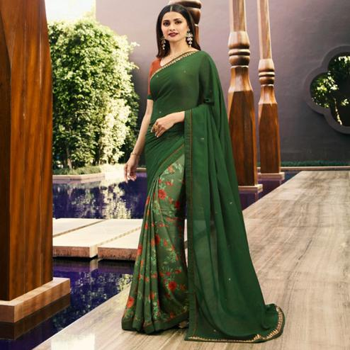 Groovy Green Colored Partywear Printed Georgette Half-Half Saree
