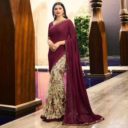 Entrancing Cream-Wine Colored Partywear Printed Georgette Half-Half Saree