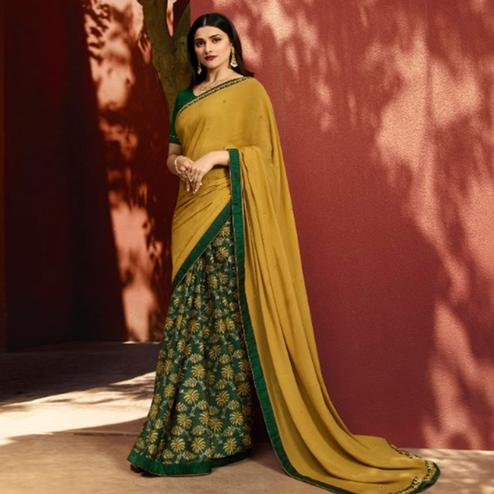 Capricious Green-Yellow Colored Partywear Printed Georgette Half-Half Saree