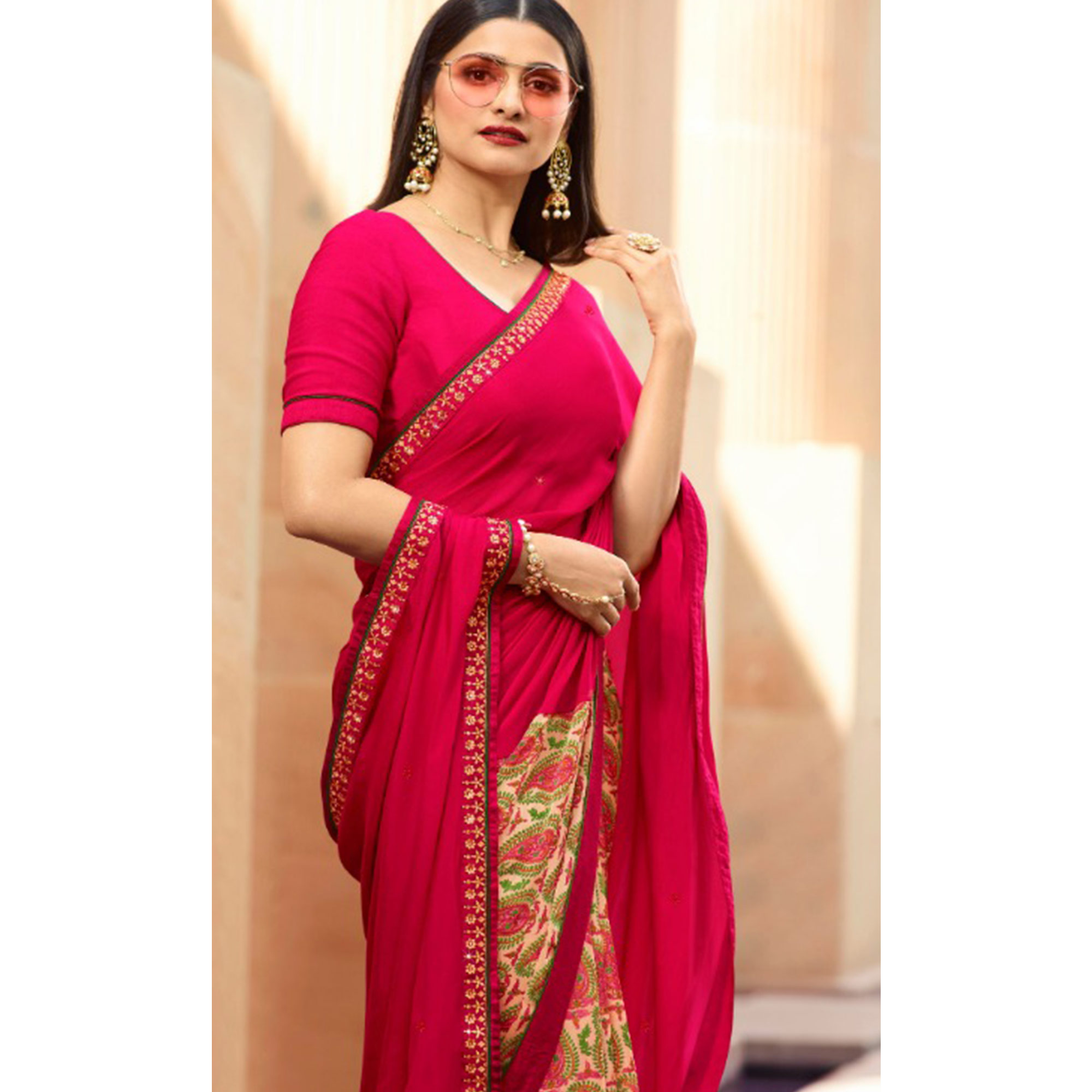 Appealing Yellow-Pink Colored Partywear Printed Georgette Half-Half Saree