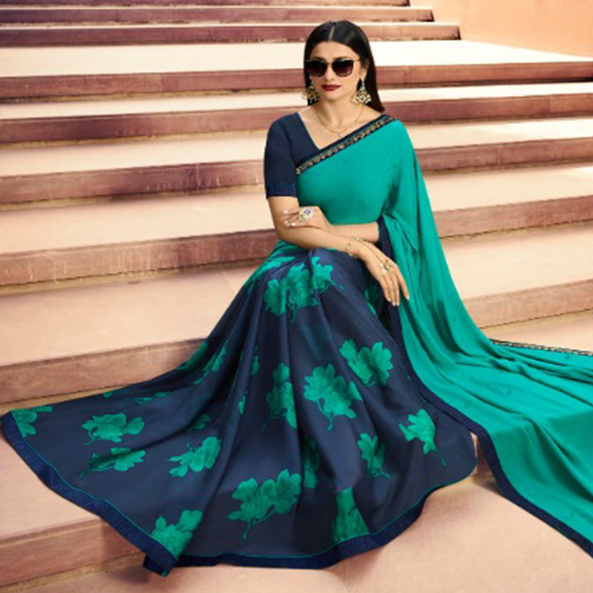 Adorning Navy Blue-Green Colored Partywear Printed Georgette Half-Half Saree