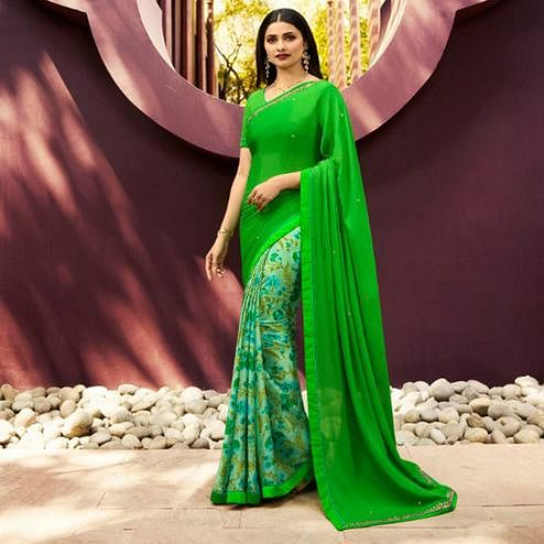 Classy Bright Green Colored Partywear Printed Georgette Half-Half Saree