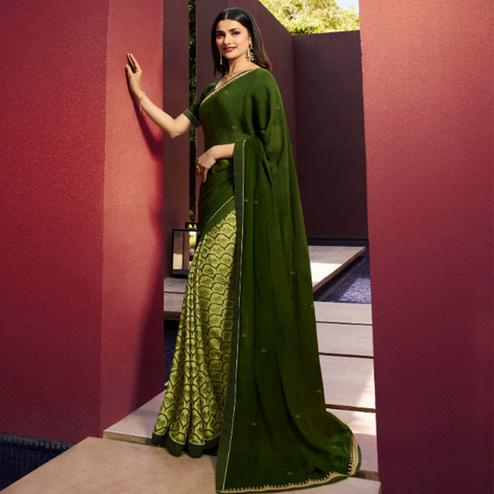 Desirable Green Colored Partywear Printed Georgette Half-Half Saree