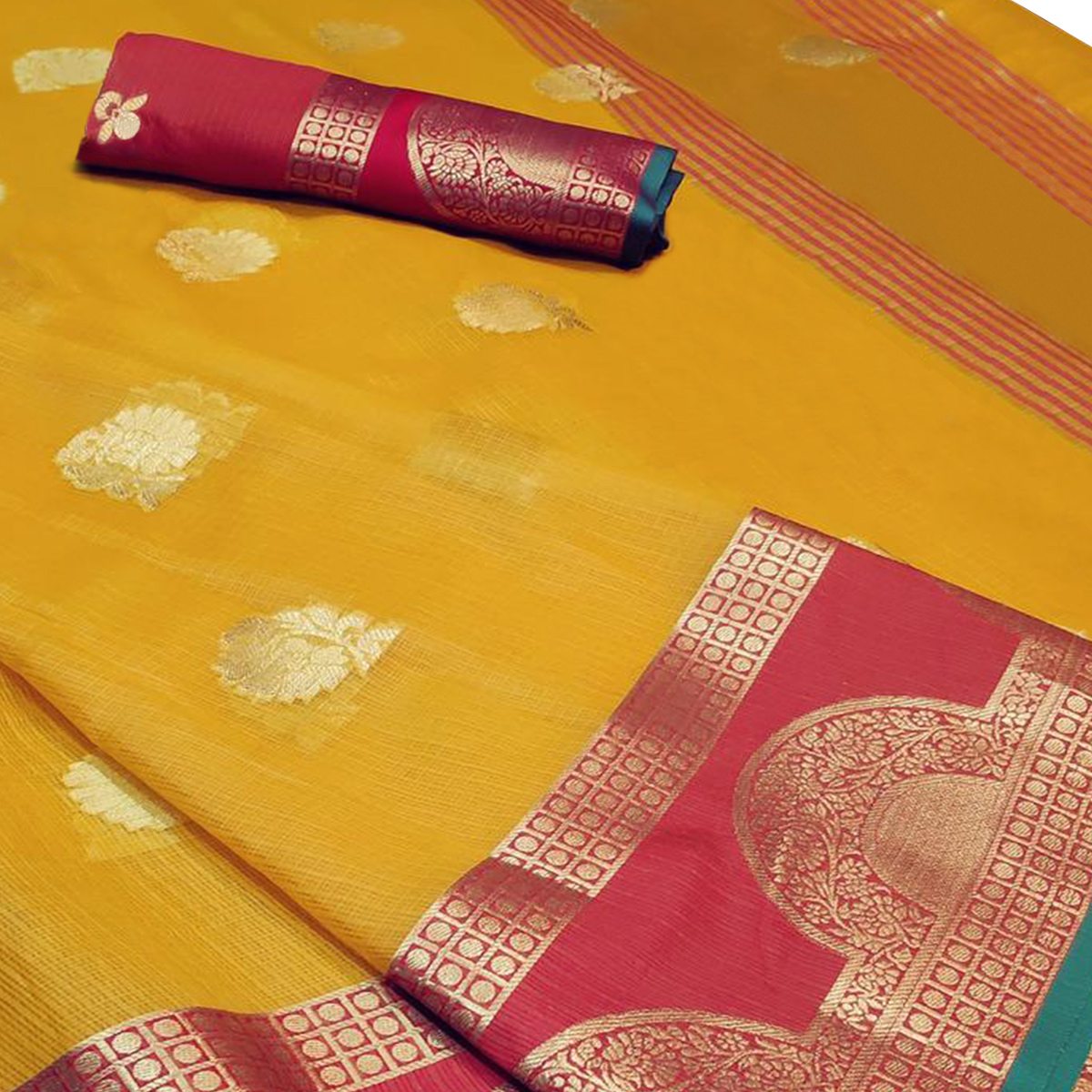Radiant Yellow Colored Festive Wear Woven Cotton Saree