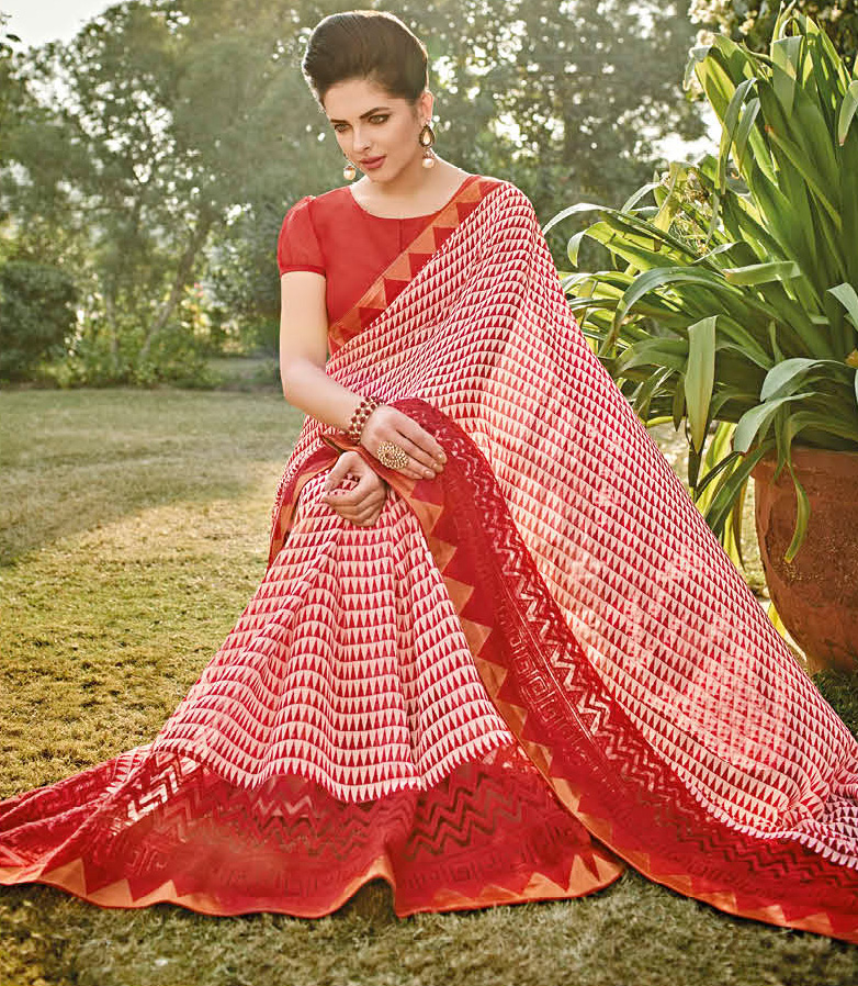 Red - White Laser Georgette Printed Saree