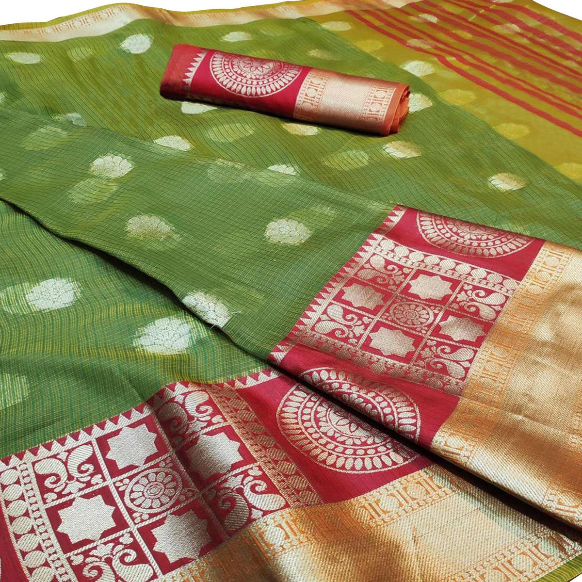 Pleasant Green Colored Festive Wear Woven Cotton Saree