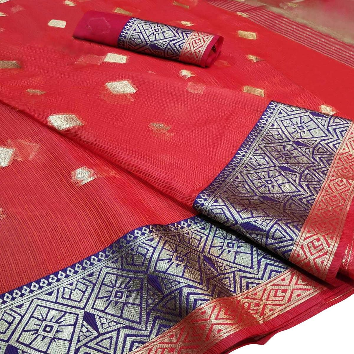 Opulent Red Colored Festive Wear Woven Cotton Saree