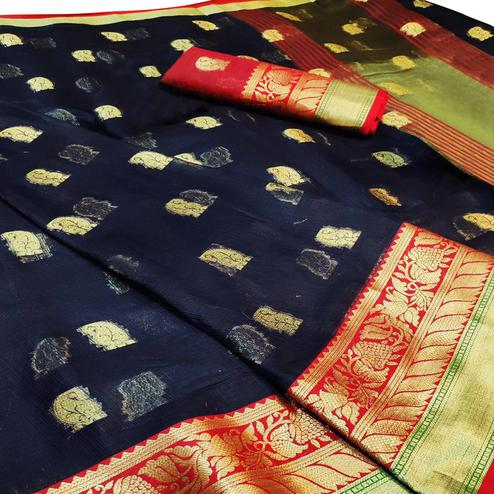 Energetic Navy Blue Colored Festive Wear Woven Cotton Saree