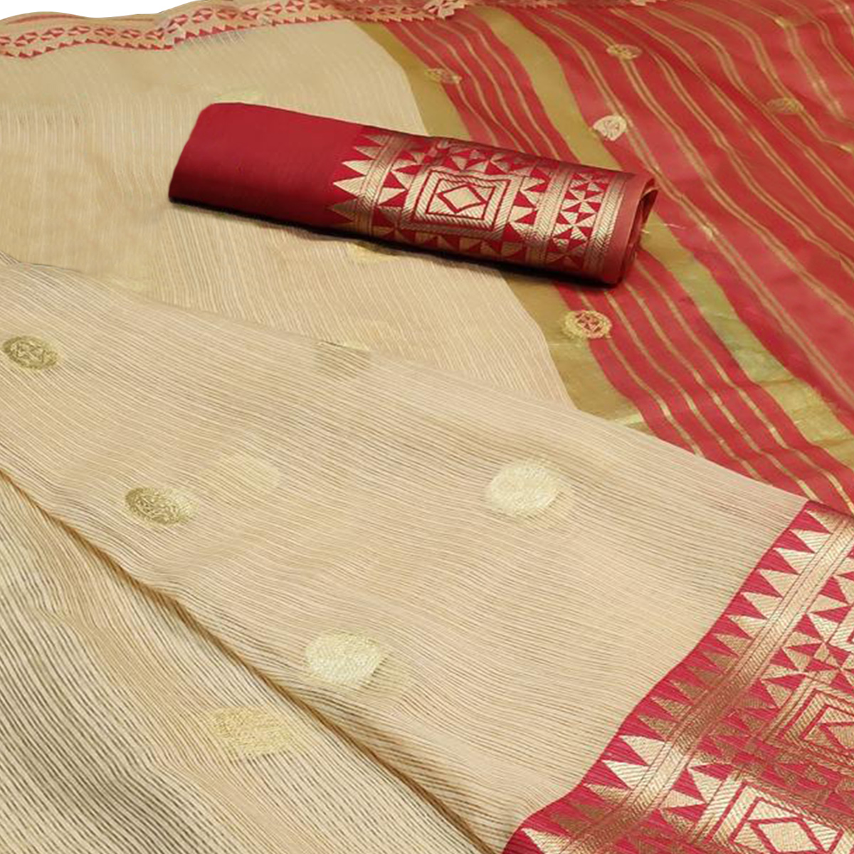 Glowing Beige Colored Festive Wear Woven Cotton Saree