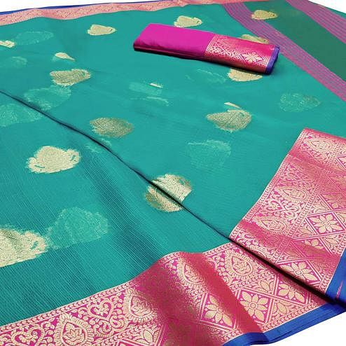 Exceptional Rama Blue Colored Festive Wear Woven Cotton Saree
