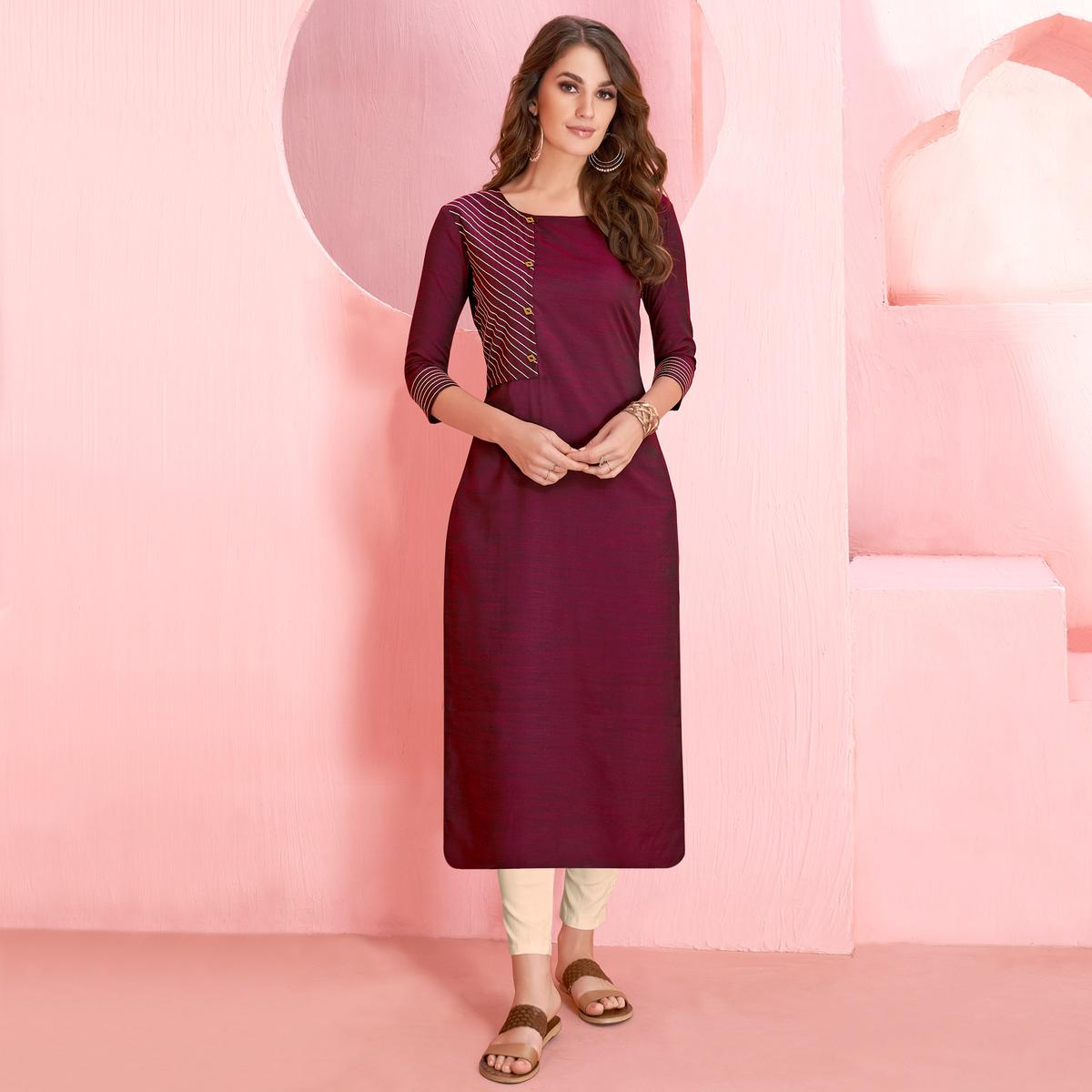Trendy Wine Colored Casual Wear Rayon Kurti