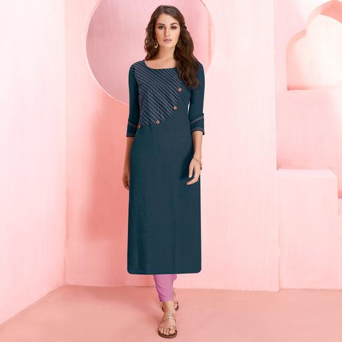 Energetic Blue Colored Casual Wear Rayon Kurti