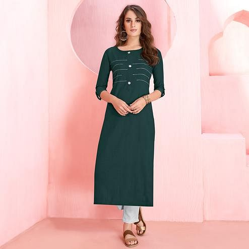 Radiant Teal Green Colored Casual Wear Rayon Kurti