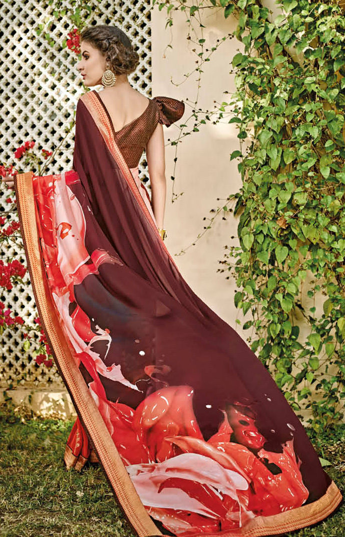 Crimson - Brown Algeria Printed Saree