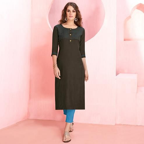 Pleasant Blackish Gray Colored Casual Wear Rayon Kurti