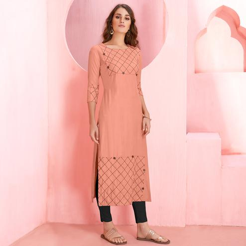 Opulent Peach Colored Casual Wear Rayon Kurti