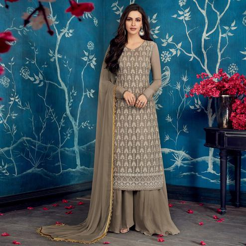 Engrossing Gray Colored Partywear Embroidered Georgette Palazzo Suit