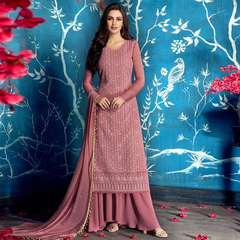 Captivating Pink Colored Partywear Embroidered Georgette Palazzo Suit