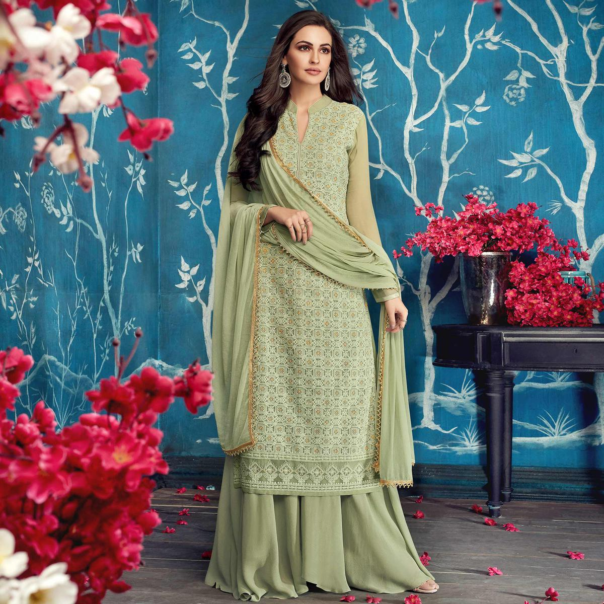Innovative Pastel Green Colored Partywear Embroidered Georgette Palazzo Suit