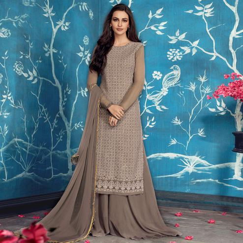 Eye-catching Gray Colored Partywear Embroidered Georgette Palazzo Suit