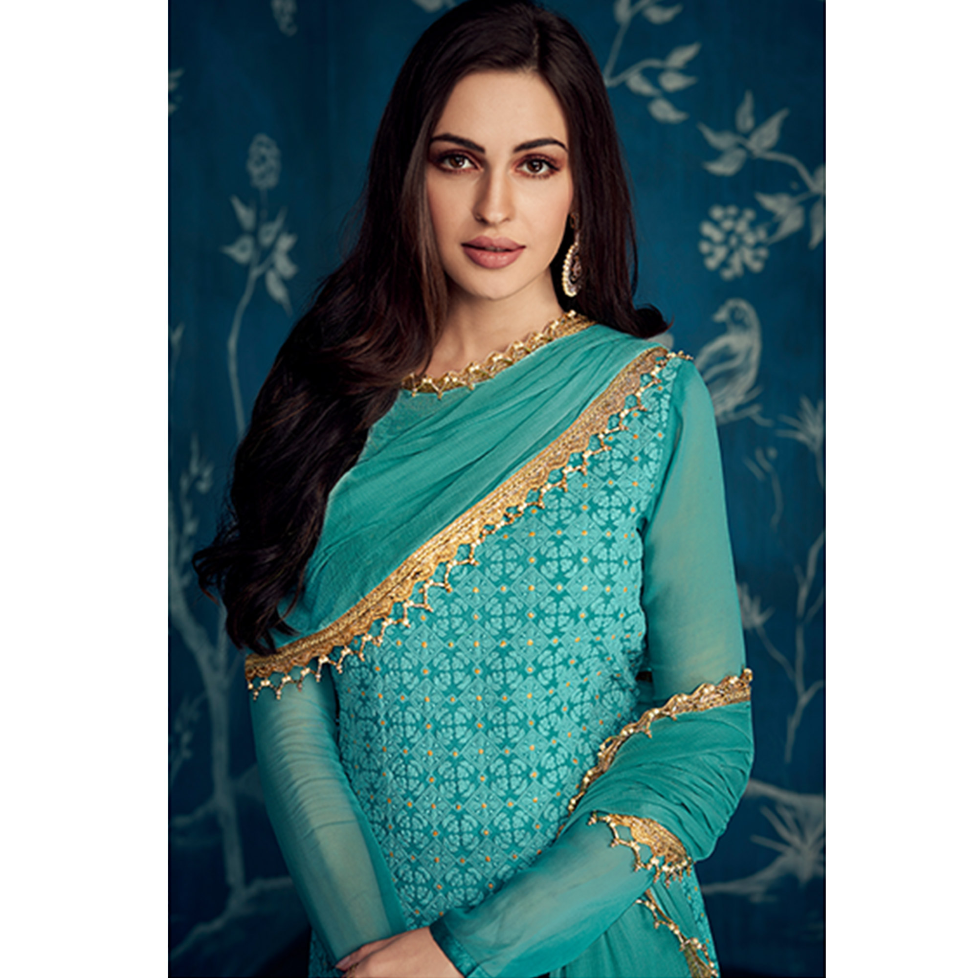 Fantastic Aqua Blue Colored Partywear Embroidered Georgette Palazzo Suit