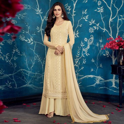 Amazing Cream Colored Partywear Embroidered Georgette Palazzo Suit