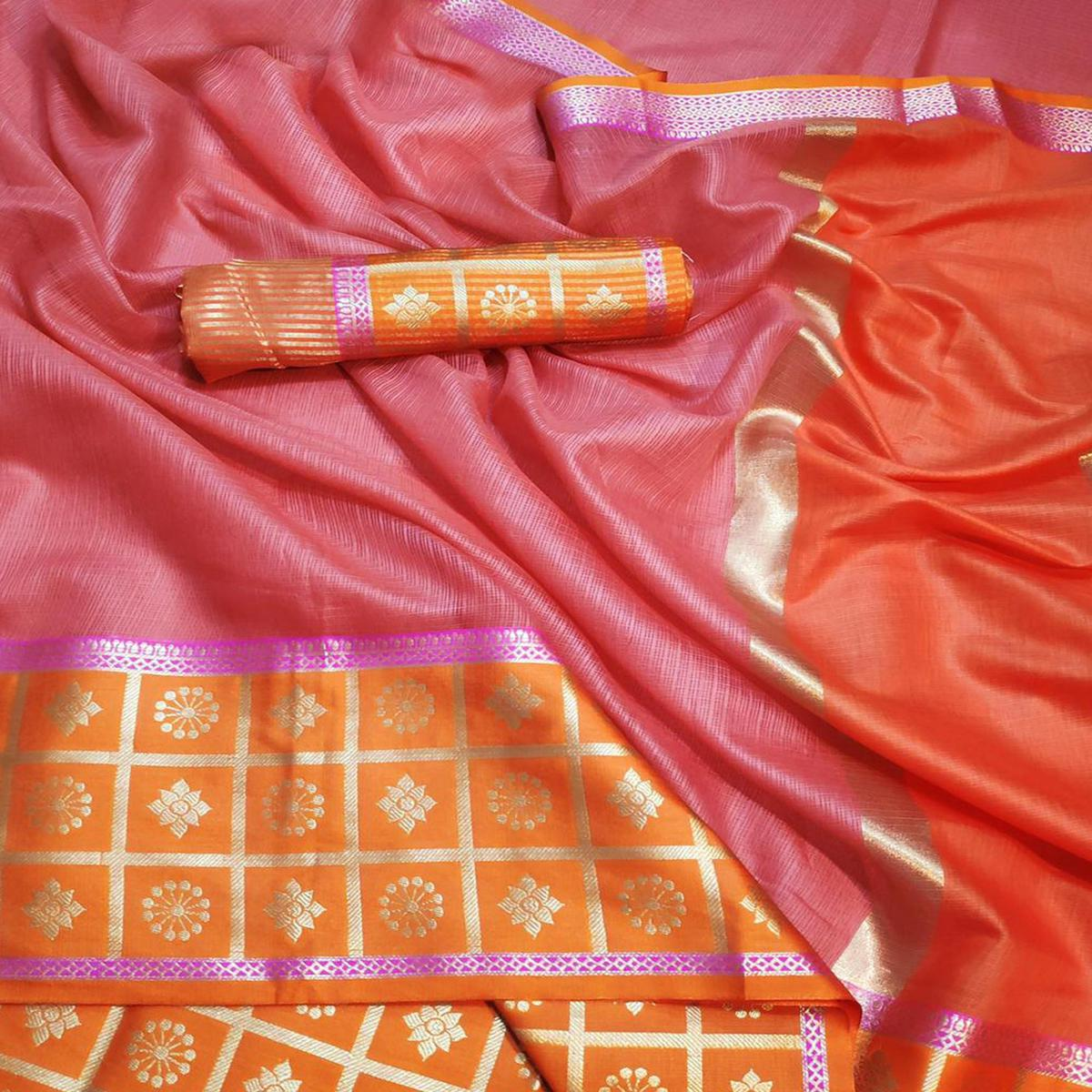 Ethnic Light Pink Colored Festive Wear Woven Cotton Saree