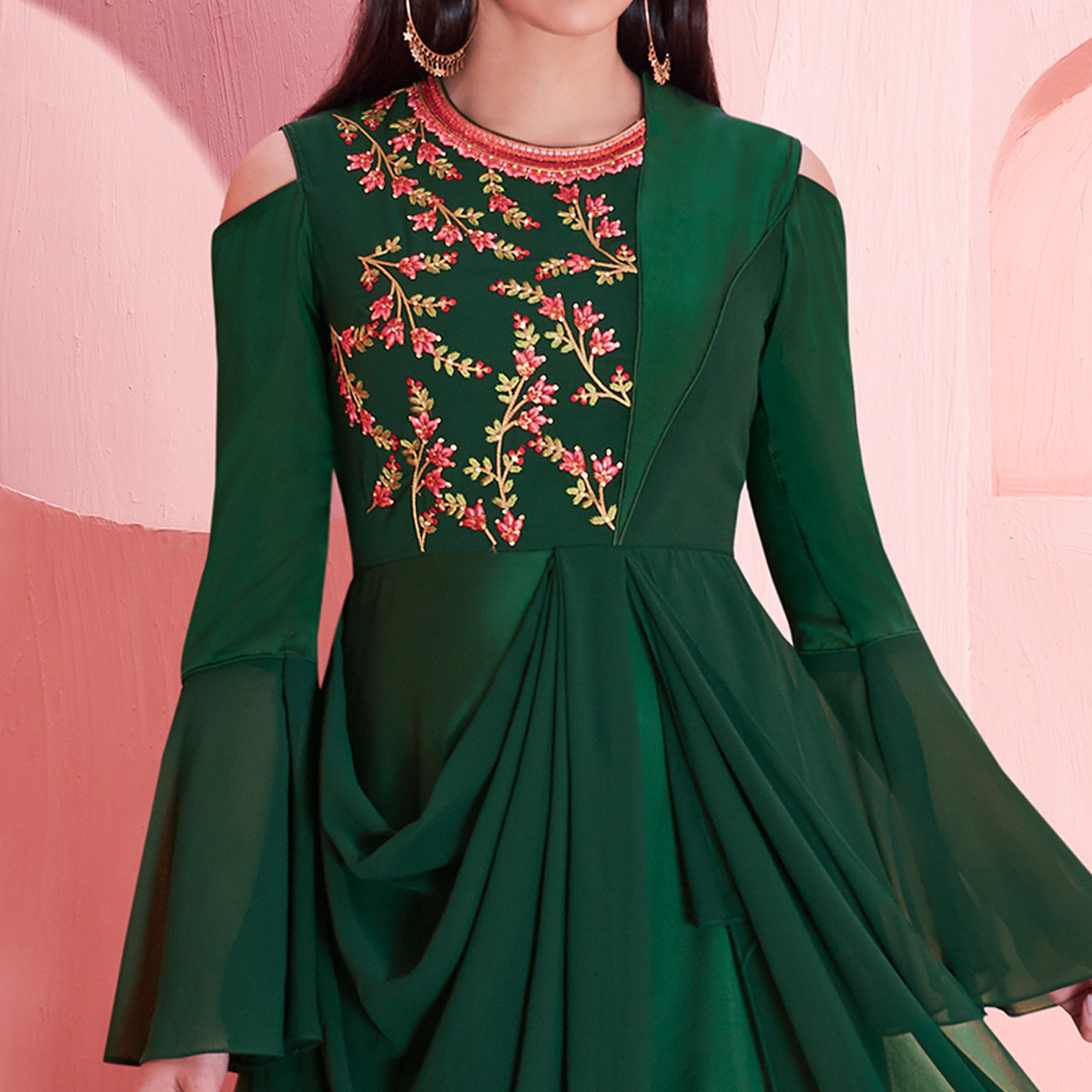 Refreshing Dark Green Colored Partywear Embroidered Georgette Gown
